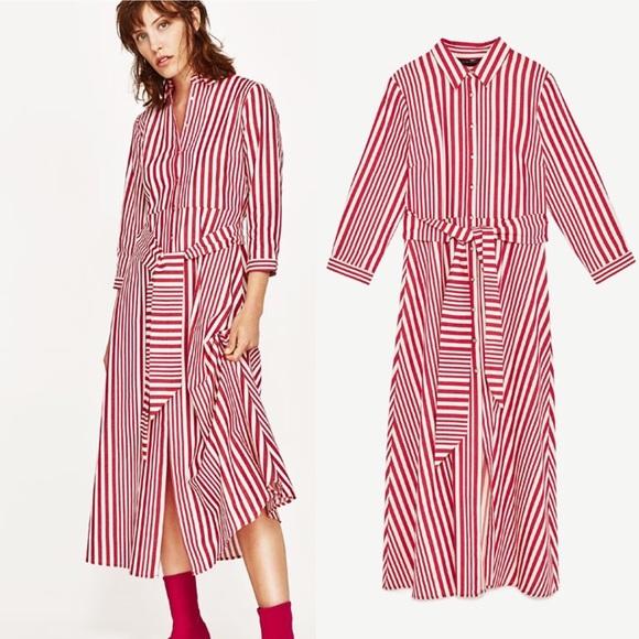 dd5a9a21981 NWT RARE Zara Red Striped Shirt Dress Tunic Medium